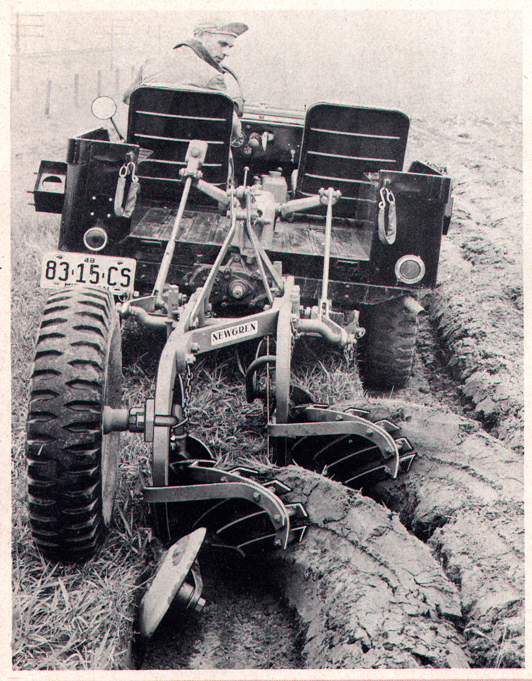 Jeep at work! A late '40s CJ mounting a Newgren two-bottom plow.  Interestingly, it's being used on a Monroe hydraulic lift, which mounted in  the bed of the ...